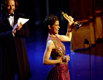 "Halle Berry accepts the Best Actress Academy Award for her role in ""Monster's Ball"" in 2002"