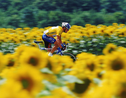 Lance Armstrong races through fields of sunflowers during Le Tour De France