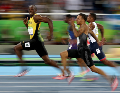 Usain Bolt of Jamaica competes in the Men's 100-meter semifinal, Rio 2016 Olympics