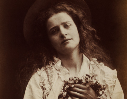 The Queen of May, a young English countrywoman in a photo taken to illustrate an 1800s poem