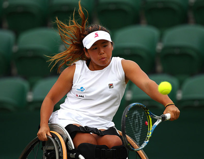 Yui Kamiji during the Ladies' Wheelchair doubles final at the 2017 Wimbledon Lawn Tennis Championships